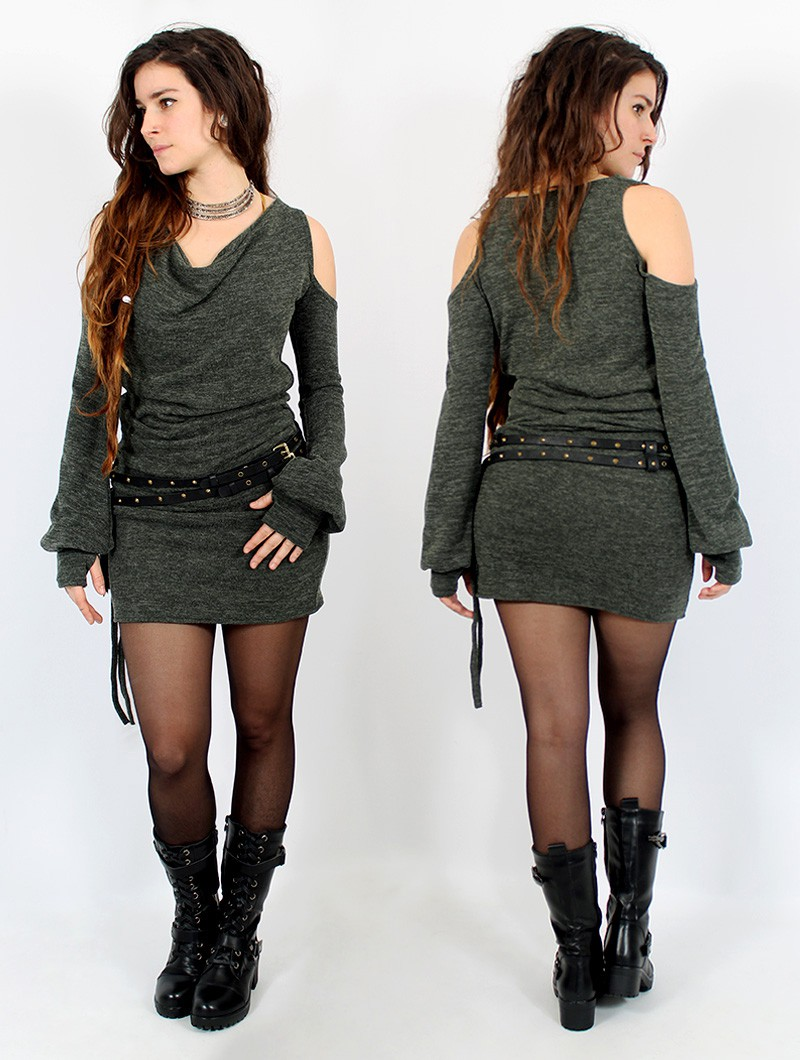 "Robe pull épaules dénudées \""Elixir\"", Vert lichen"