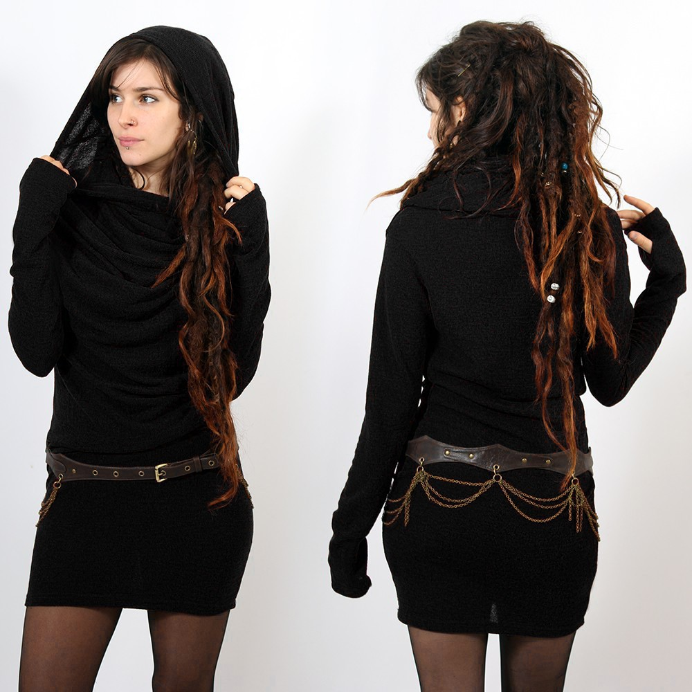 "Robe pull mi-saison \""Kali\"", Noir"