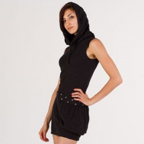 Robe soba dress, noir