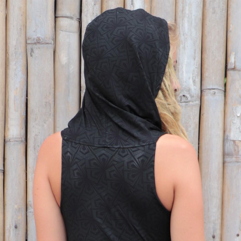 "Robe tunique \""Kokeshi Samouraï\"", Noir"