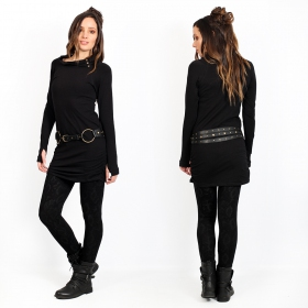 "Robe tunique \""Loba\"", Noir uni"