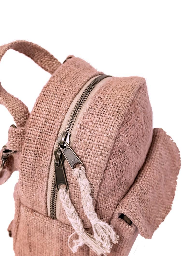 """Sac à dos convertible \""""Kumari\"""", Chanvre et coton rose pâle"""