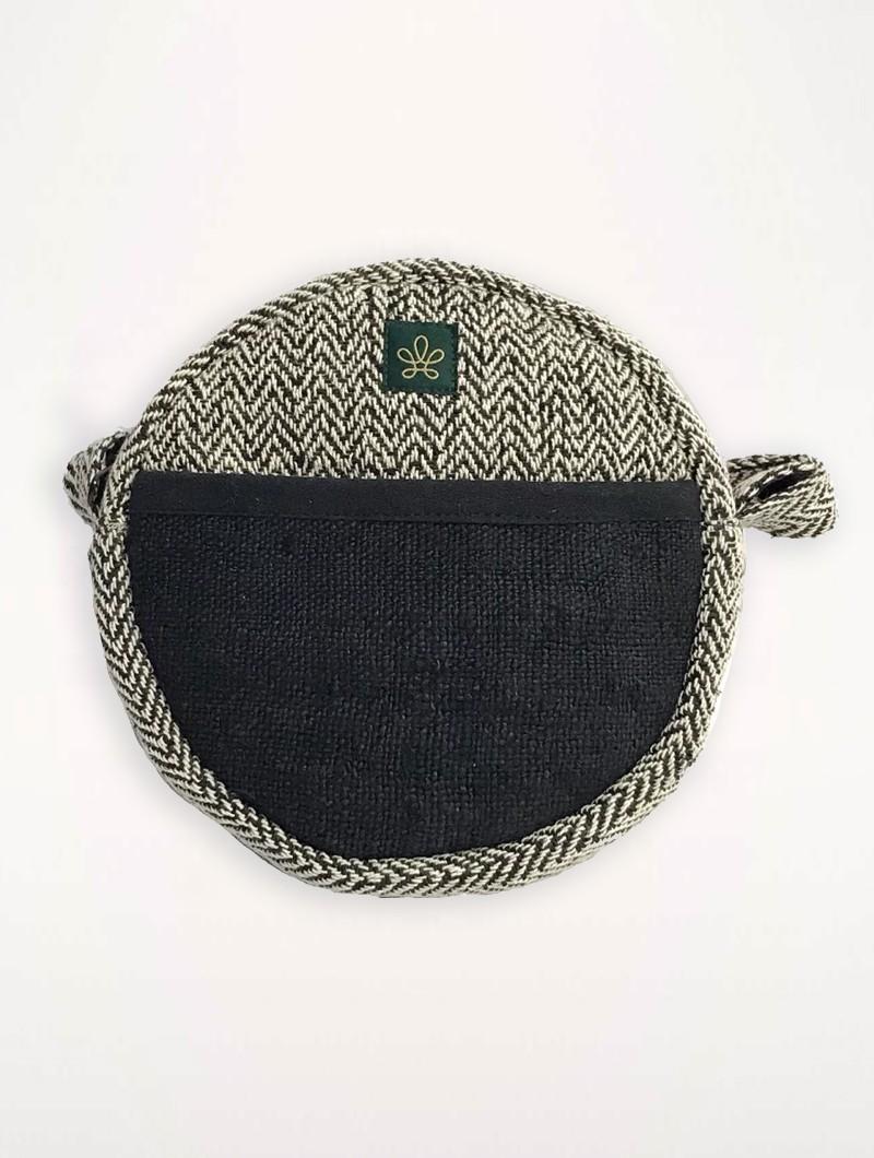 """Sac bandoulière \""""Kalikot\"""", chanvre et coton noir"""