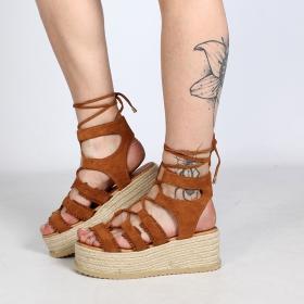 """Sandales à plateforme \""""Naheiti\"""", Camel"""