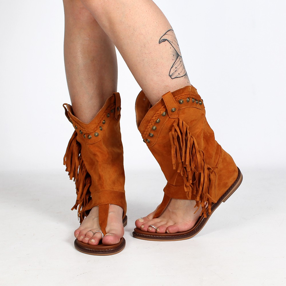 """Sandales bottes \""""Apa\"""", Camel"""