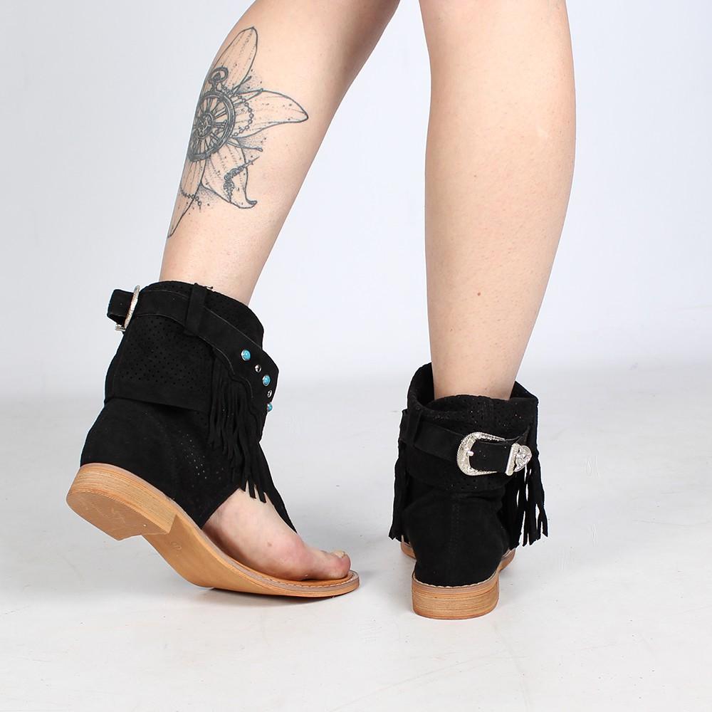 """Sandales bottes \""""Arjuna\"""", Noir"""