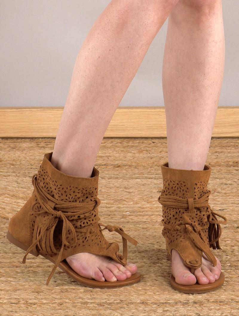 "Sandales bottines \""Icares\"",  Marron camel"