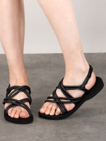 """Sandales plates à lanière \""""Pusha\"""", Noir"""