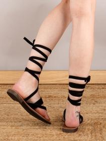 """Sandales spartiates hautes \""""Laïmya\"""", Noir"""