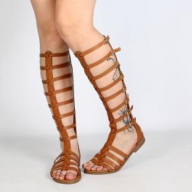 sandales femme en cuir synthétique marron camel pour l'été type spartiates gladiator montantes luana avec lanières et boucles