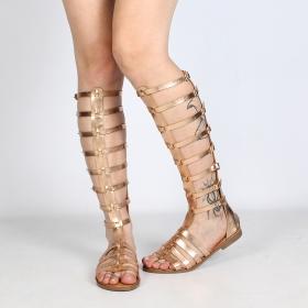 sandales femme en cuir synthétique doré brillant parfaites pour l'été type spartiates gladiator montantes luana avec lanières et boucles