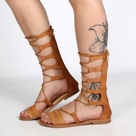 sandales été femme spartiates montantes cuir camel avec lanières