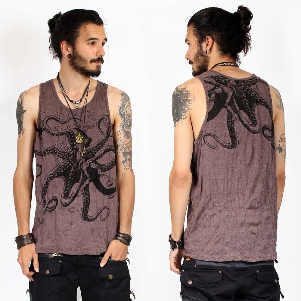 """Sans manches \""""Octopus\"""", Taupe"""