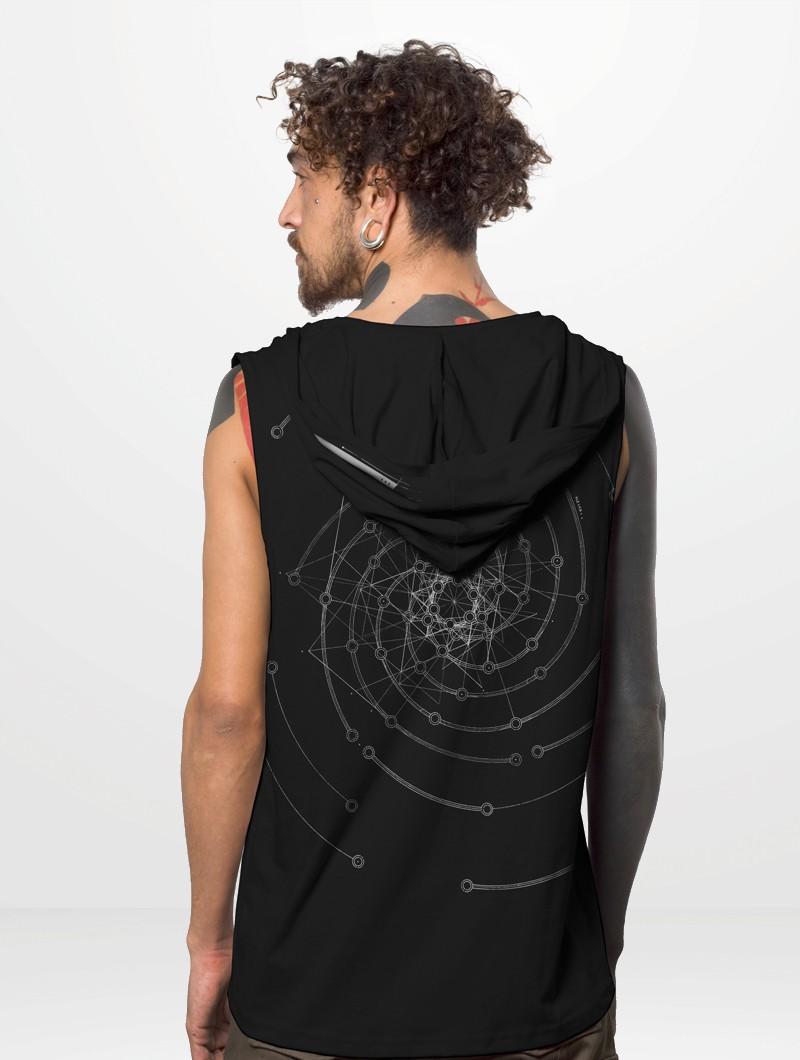"""Sans manches à capuche \""""Fibonacci\"""", Noir"""