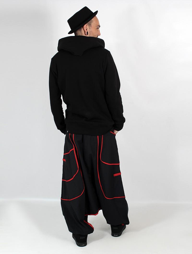 "Sarouel Macha unisexe \""Lines\"", Noir bandes rouge"