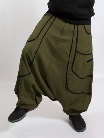 "Sarouel Macha unisexe \""Lines\"", Vert kaki bandes noir"