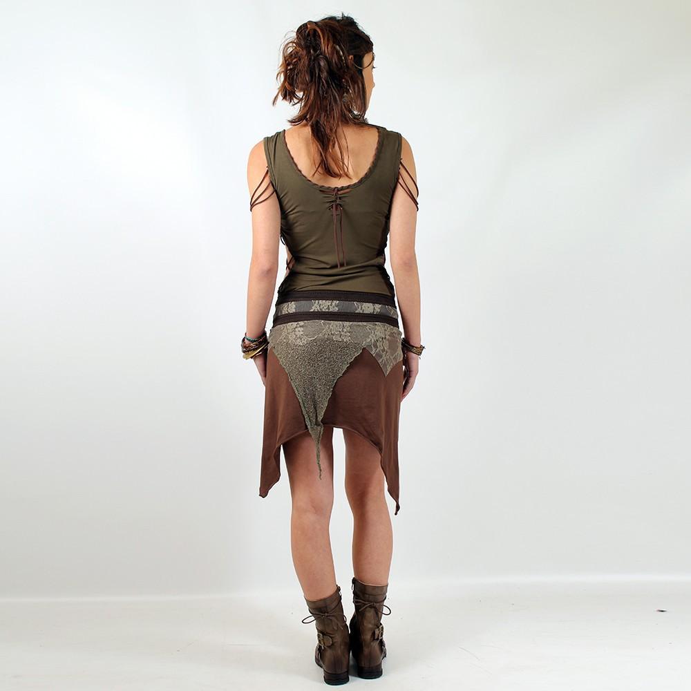 """Skirt Luna \""""Lush Layers Wrap Around\"""", Marron dentelle Kaki"""