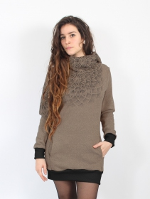 "Sweat ""Lotus\"", Beige foncé chiné"
