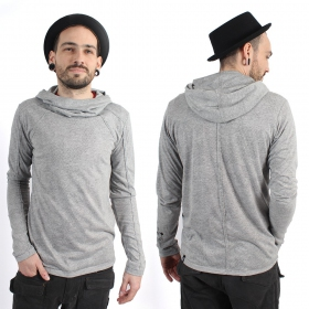 """Sweat fin \\\""""Camoline\\\"""", Gris chiné"""