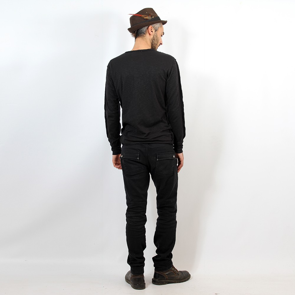 "Sweat fin Psylo ""Reslub Sweater\"", Noir"
