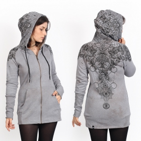 "Sweat long zippé ""Asteria\"", Gris chiné"