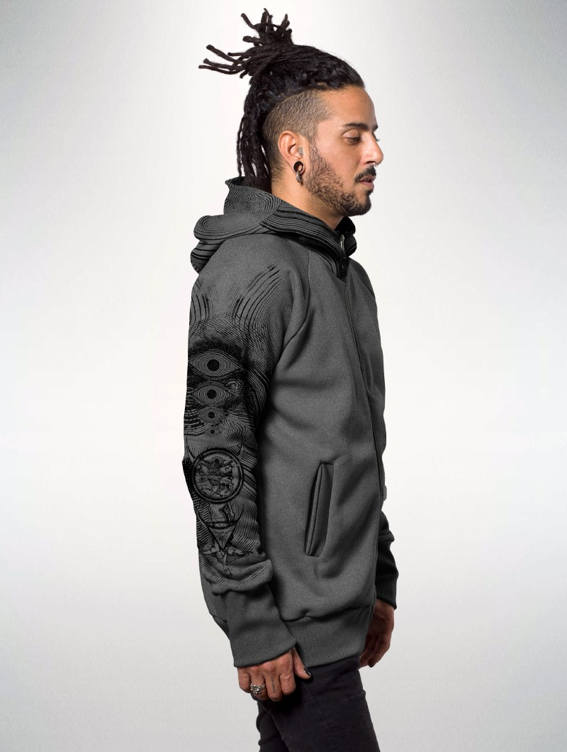 "Sweat zippé ""Elemental\"", Gris chiné"