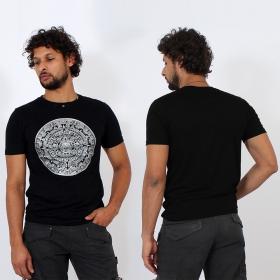 T-shirt \\\'\\\'Calendrier Maya\\\'\\\', Noir et argent
