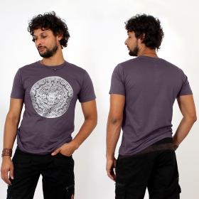 T-shirt \\\'\\\'Calendrier Maya\\\'\\\', Violet et argent
