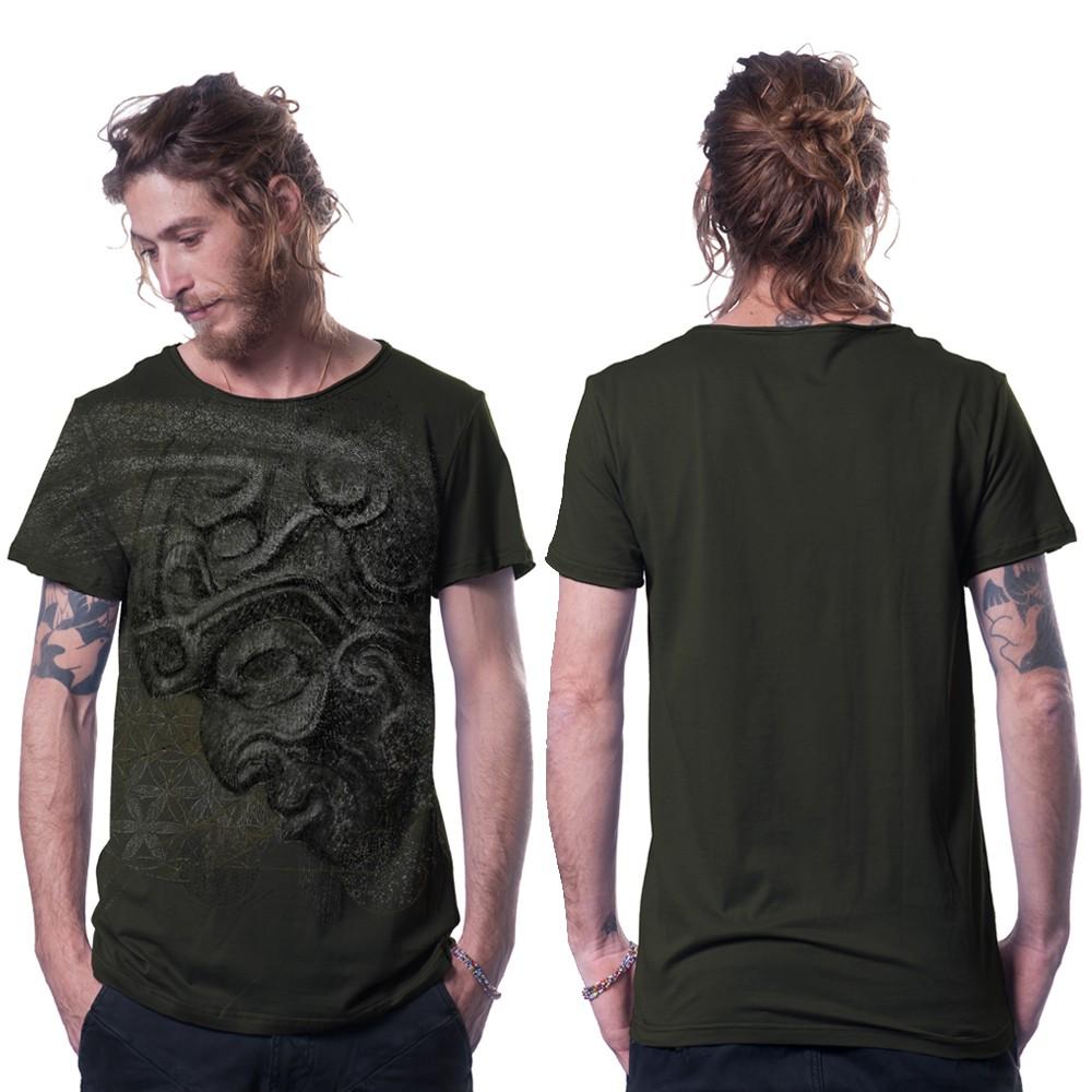 """T-shirt \""""Azone\"""", Vert kaki foncé"""