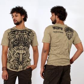 """T-shirt \\\""""bali dragon\\\"""", marron clair"""