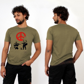 "T-shirt ""banksy army peace\"", kaki"