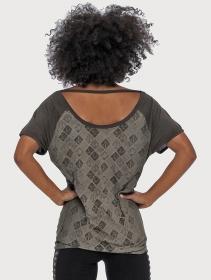 "T-shirt \""Batik\"", Vert kaki"
