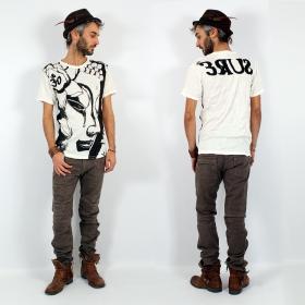 "T-shirt \""Bouddha\"", Blanc"