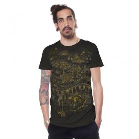 """T-shirt \""""City Steps\"""", Marron foncé"""