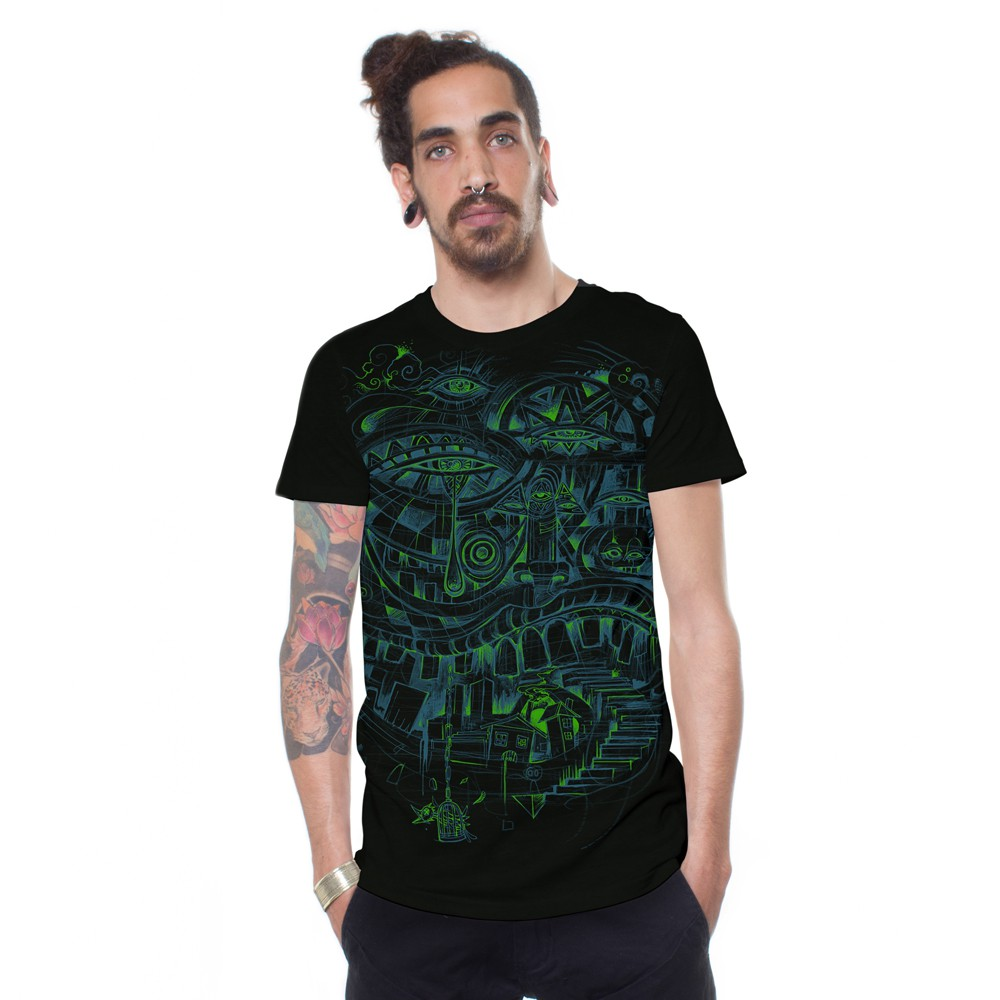 "T-shirt \""City Steps\"", Noir"