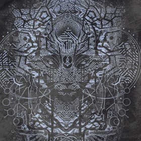 "T-shirt \""Digital Nature\"", Gris vieilli"