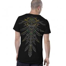 "T-shirt \""Dragon Feathers\"", Noir"