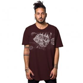 "T-shirt \""Edison Fish\"", Bordeaux"