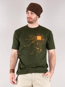 "T-shirt \""Electrosystem\"", Vert kaki"