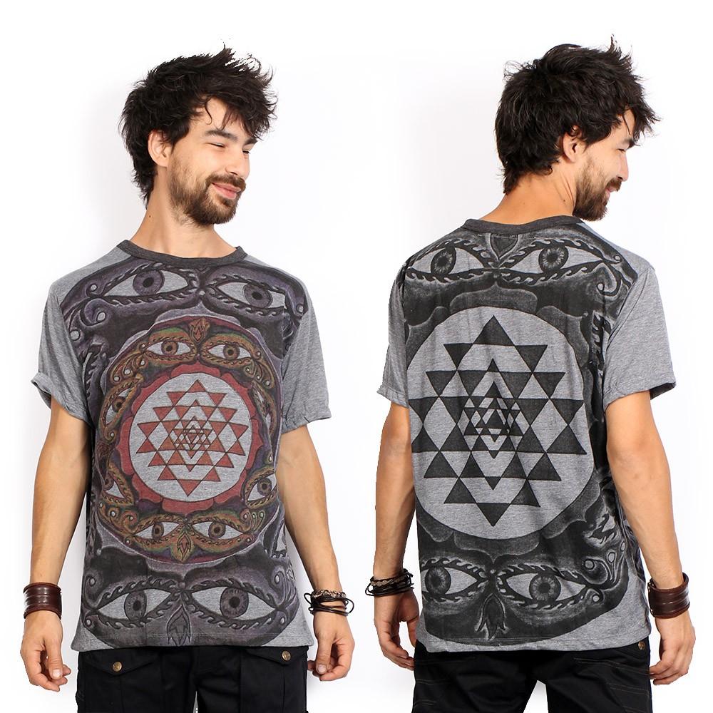 "T-shirt \""Eyes\"", Gris foncé"