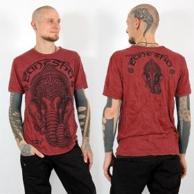 "T-shirt \\\""Ganesh face\\\"", Rouge corail"