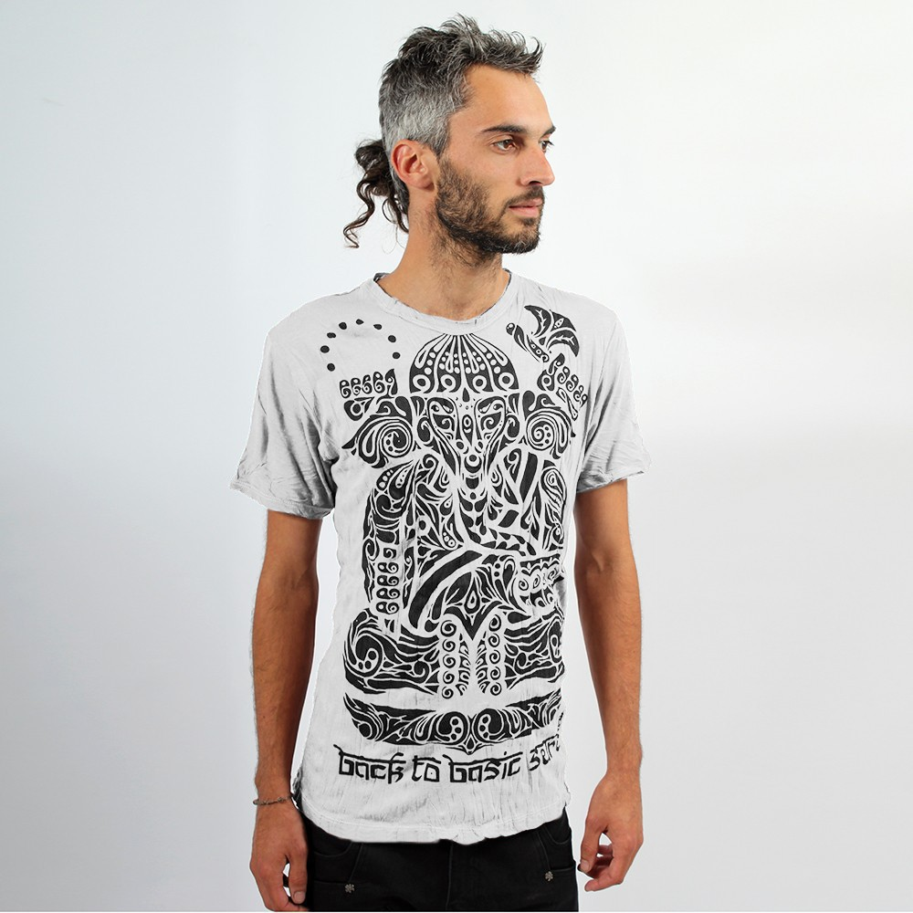 "T-shirt \""Ganesh Tribal\"", Blanc"