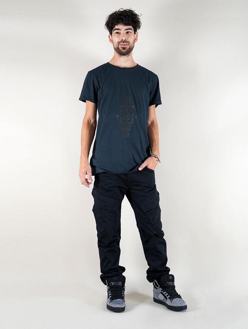 "T-shirt \""Geometric Tierra\"", Bleu pétrole"