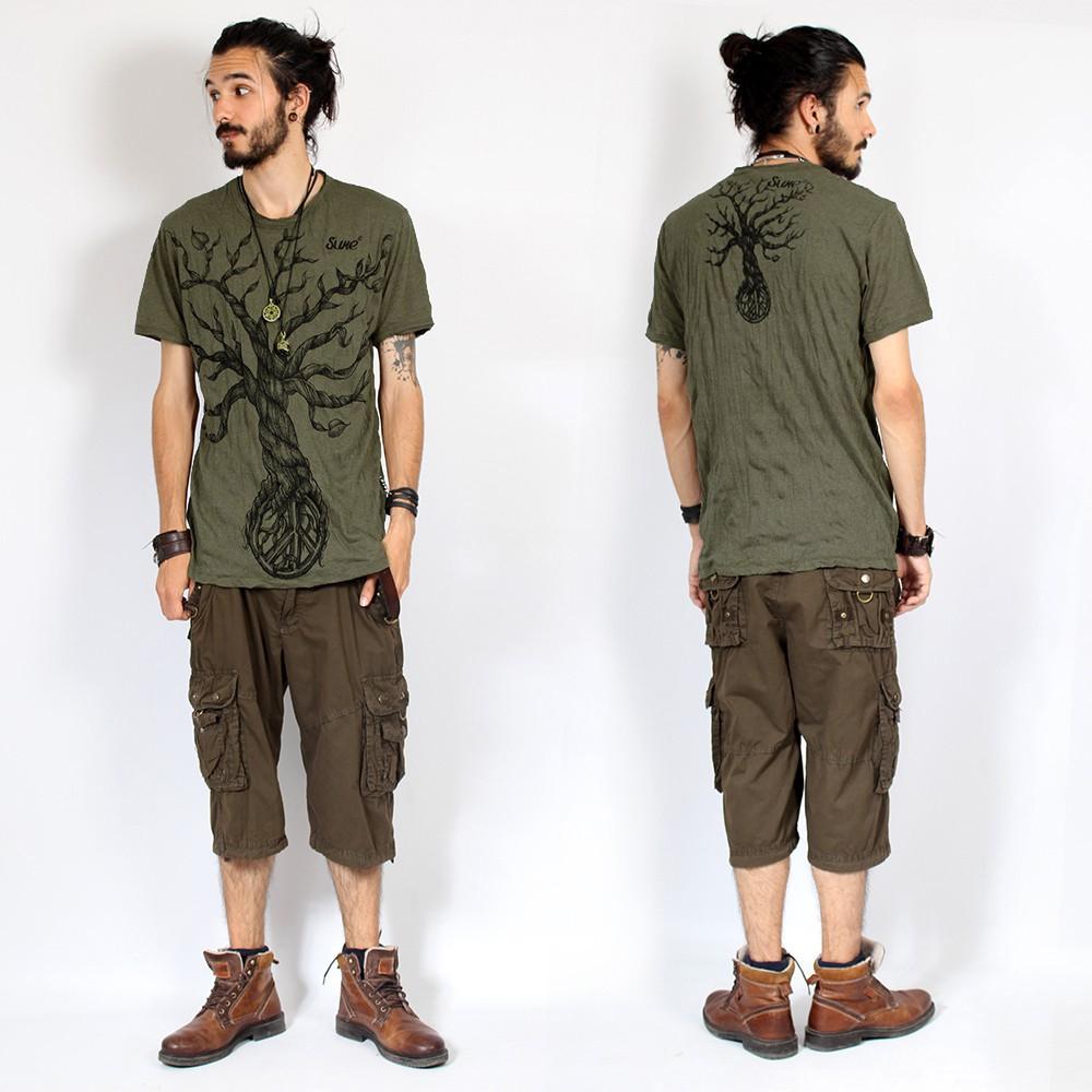 "T-shirt \""Leafless Tree\"", Kaki"