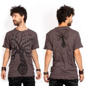 "T-shirt ""Leafless Tree\"", Marron"