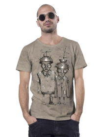 "T-shirt ""Little bro\"", Beige chiné"