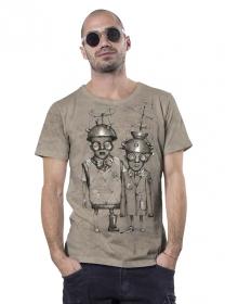 """T-shirt \""""Little bro\"""", Beige chiné"""