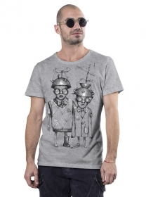 "T-shirt ""Little bro\"", Gris chiné"