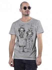 """T-shirt \""""Little bro\"""", Gris chiné"""