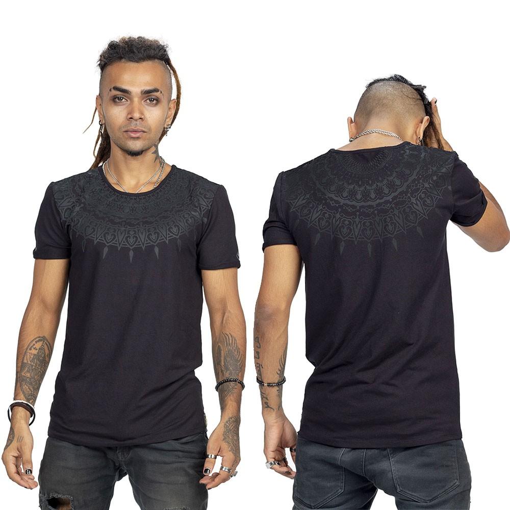 """T-shirt \""""Mandala\"""", Gris charbon et noir"""
